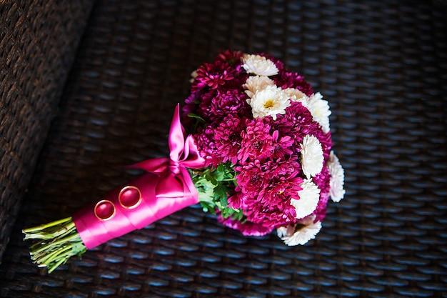 Bridal bouquet. the bride's bouquet lies on chair