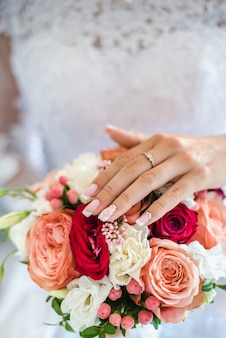 Букет невесты букет роз свадебный букет невесты утро сбор невесты