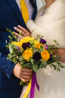 Bridal bouquet on the wedding day