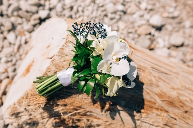 Bridal bouquet of white calla lilies and blue mahonia lying on the tree