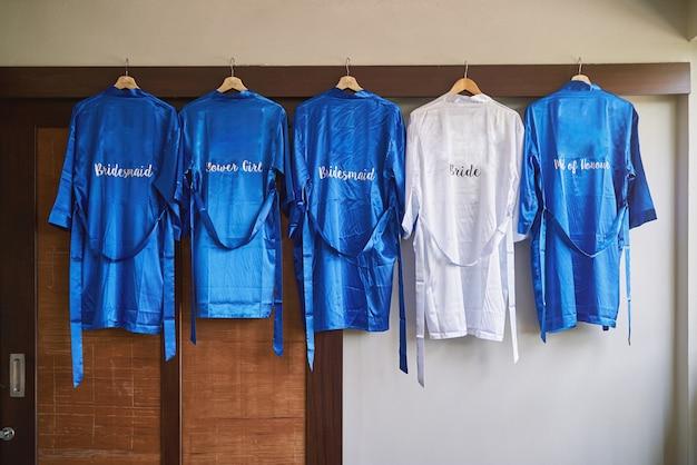 Bridal cloths in blue and bride cloth