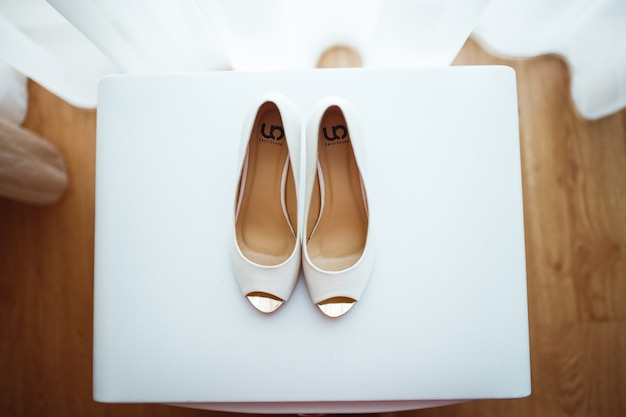 Bridal shoes from above