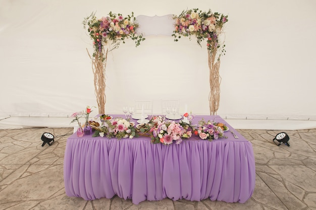 The bridal table. tent.