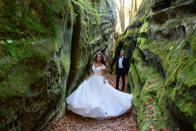 新郎新婦。狭く美しい渓谷を散策するカップル。渓谷は緑の苔で覆われていました。新婚夫婦が回転し、実行されています