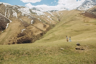 Bride and groom are walking on the grass in summer in high mountains