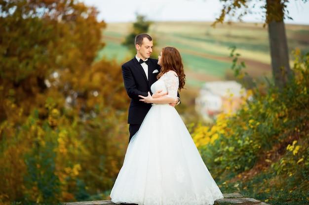 春の自然の屋外を歩く日の結婚式で新郎新婦。ブライダルカップル、幸せな新婚女、秋の公園で抱きしめる男。屋外の結婚式のカップルを愛する。新郎新婦