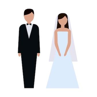 新郎新婦。カップル。結婚式。男性と女性。漫画フラットベクトルイラスト