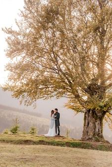 山で抱き締める新郎新婦