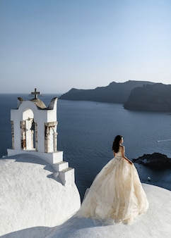 Bride in a beautiful wedding plan stands on the roof