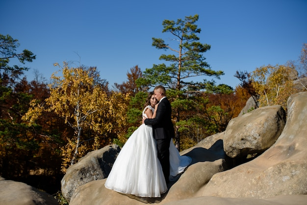 The bride and groom are hugging on top of a cliff