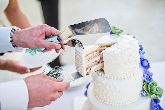 Bride and groom cut white wedding cake decorated with blue flowers