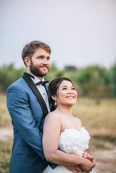 Bride and groom have romance time and happy together