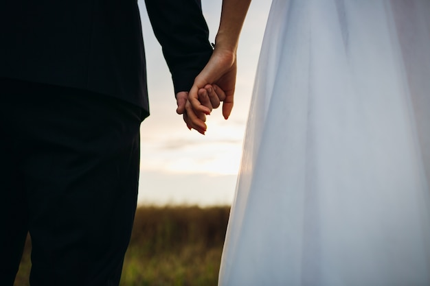 Bride and groom hold each other hands standing on the field