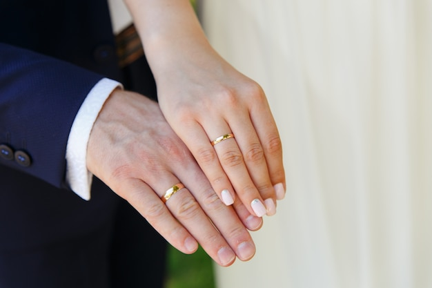 Bride and groom holding hands with wedding rings