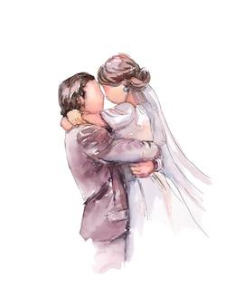 Bride and groom hugging, just getting married