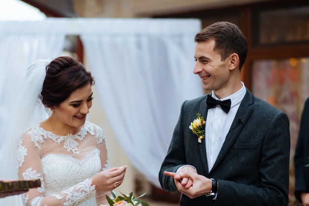 Bride and groom at a registry office