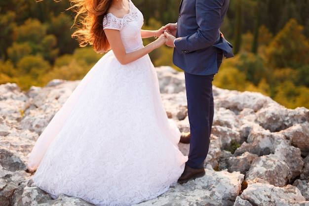 The bride and groom stand on a rock in the mountains and hold hands
