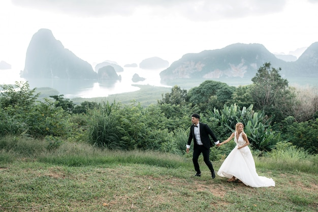 The bride and groom walk and hold hands on the hill.beautiful landscape with mountains and lake.