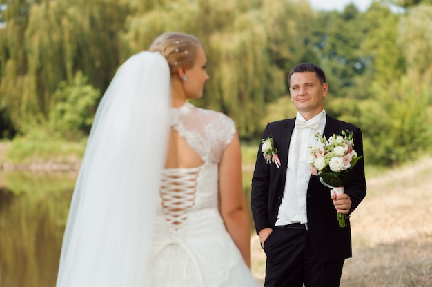 Bride and groom on the walk