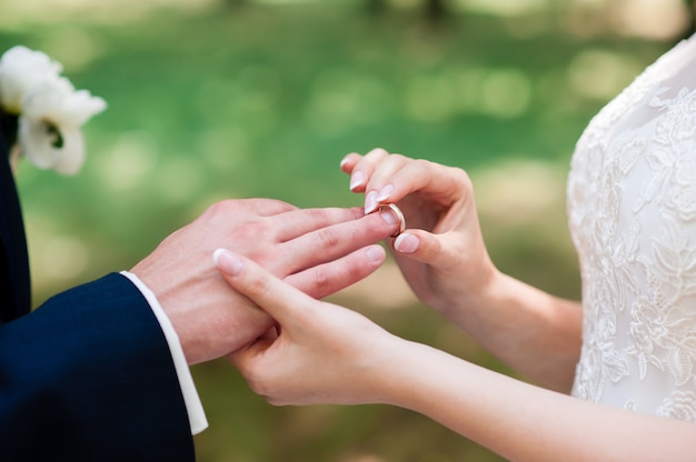 The bride and groom wear rings.