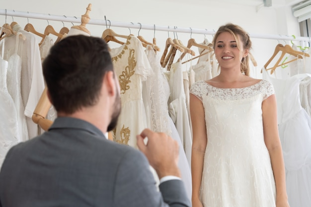 Bride groom in wedding dress in wedding ceremony.