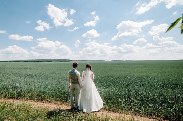 The bride and groom with a wedding bouquet, holding on hands and standing back looking on mountains.
