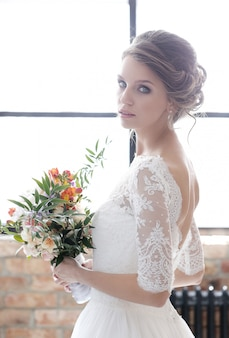 Bride in her wedding dress