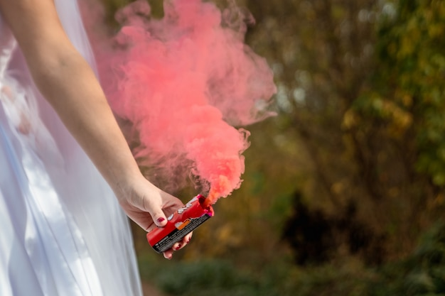 Bride hold smoke bomb in his hands, the concept of family relationships