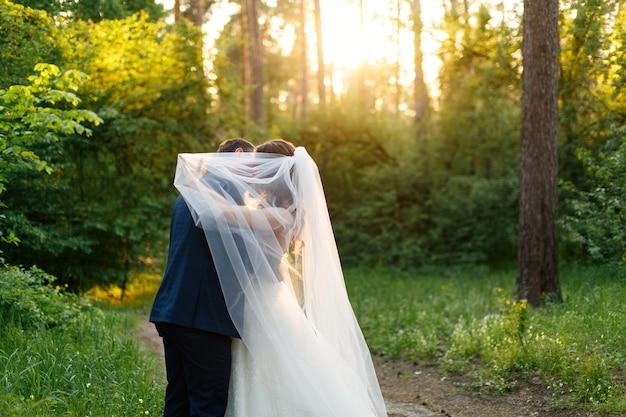 白いドレスを着た花嫁と長いベールと花婿が緑豊かな公園でキス美しい結婚式のカップル屋外