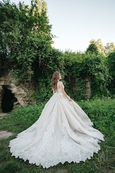 The bride is in a gorgeous dress in nature