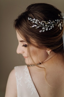 Bride posing showing her back