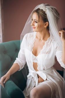 Bride preparing for wedding ceremony