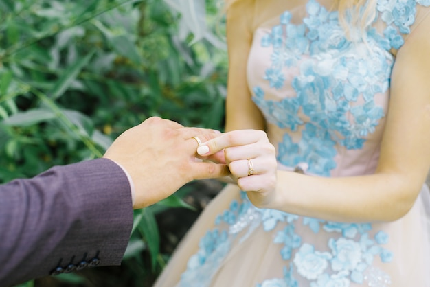 The bride puts a wedding ring on her finger to the groom