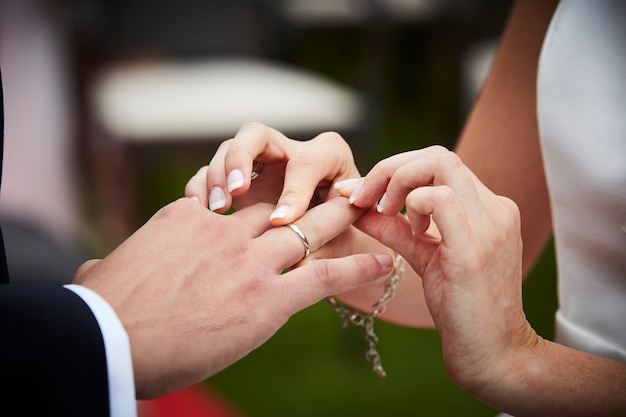 Bride putting wedding ring on a groom's finger