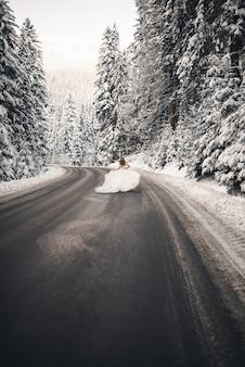 Невеста бежит по дороге возле заснеженных деревьев