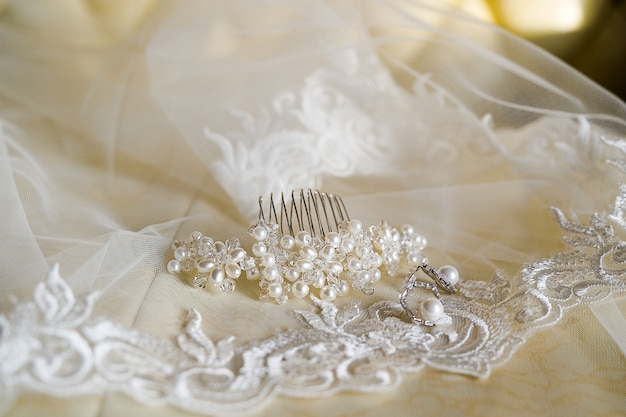 The bride's hair clip and earrings are on the veil. wedding day.