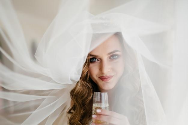 Bride's morning. fine art wedding. happy bride