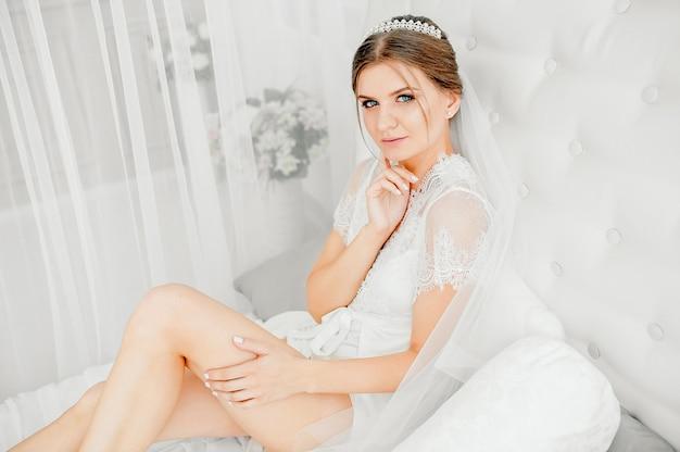 Bride's preparations in loft room