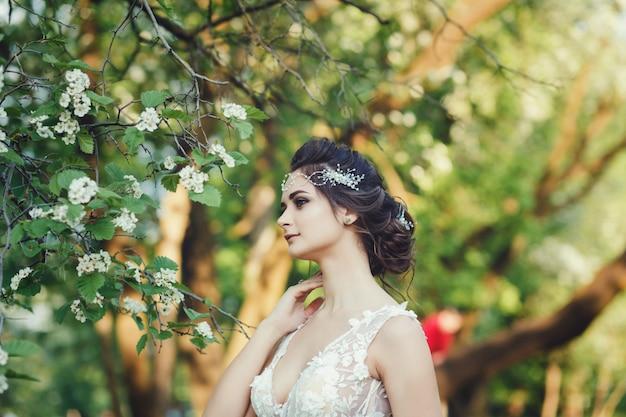 Bride in spring park