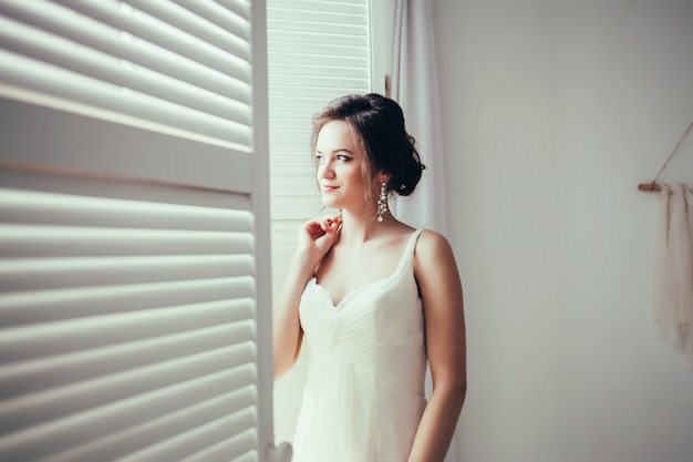 Bride wearing fashion wedding dress.