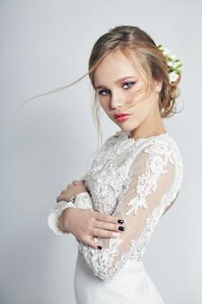 Bride wedding ceremony, perfect figure makeup