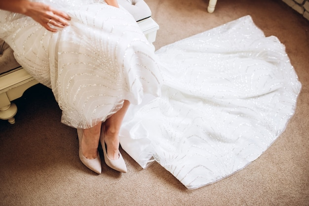 Bride in wedding dress shoes. bridesmaid shoes