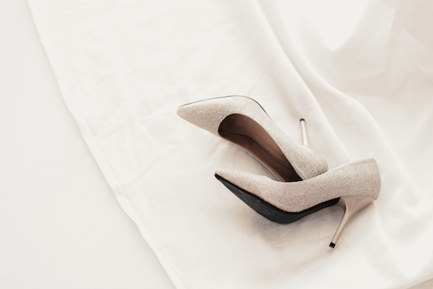 Bride wedding shoes with high heels