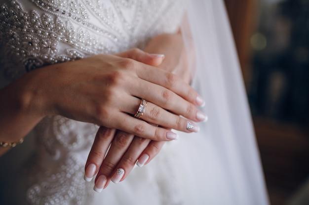 交差した手で花嫁