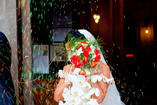 Bride with flower's bouquet