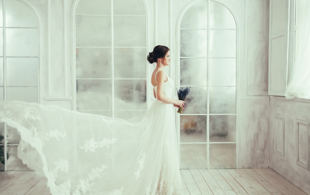 Bride with flying dress
