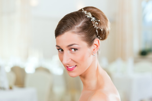Bride with swept-back hair