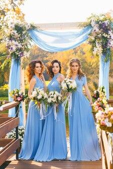 Bridesmaids in park