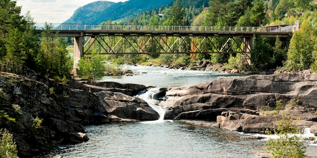 Bridge across the river, norway
