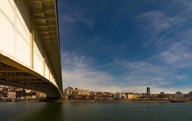 Under the bridge across river sava